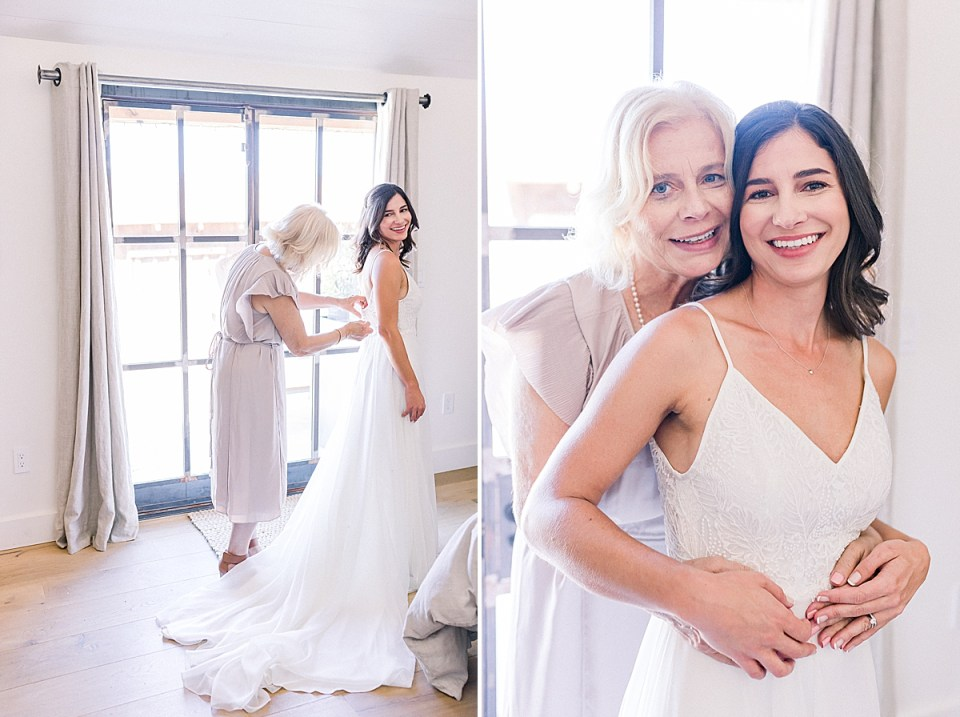 Lauren's mother zipping up her dress as she smiles back at the camera. A second image of her mother hugging her from behind as they both smile at the camera.