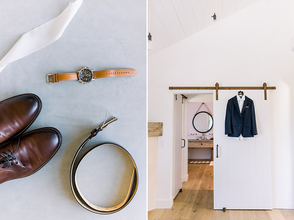 The groom's watch, shoes, and belt with some white lace. A second image of the groom's attire hanging on the door.