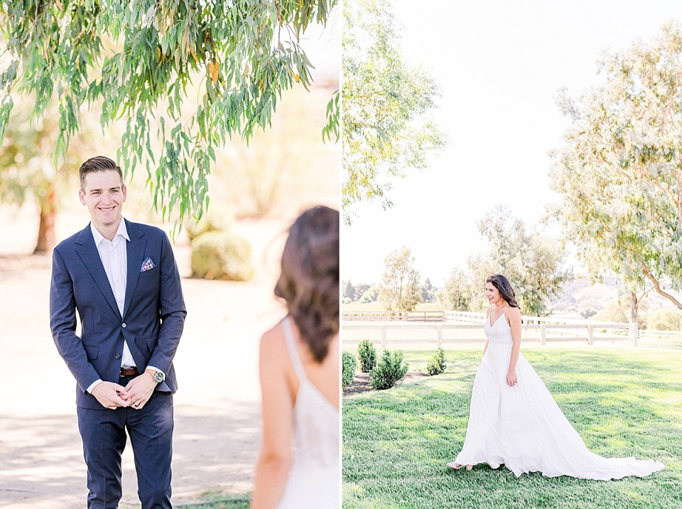 The groom holding his hands and smiling as he turns around for the couple's first look at each other on their wedding day. A second image of Lauren walking towards her almost husband.