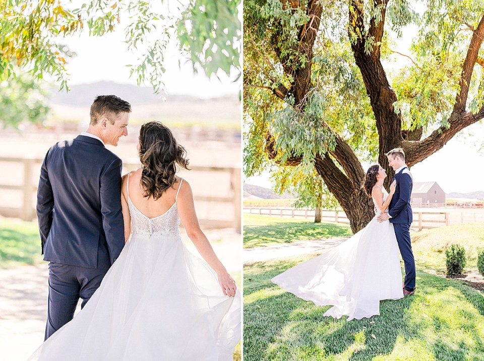 The couple holding hands and walking away from the camera while smiling at each other. A second image of the couple smiling at each other and holding each other closely during their San Luis Obispo Farm Wedding.