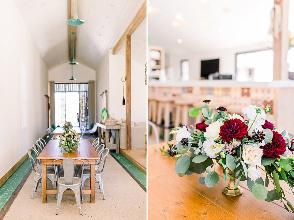 The reception area with tables and florals set up. A second image of one of the floral centerpieces.