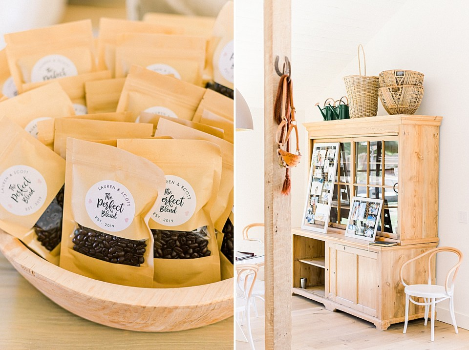 The couple's wedding favors are different flavors of coffee beans. A second image of decorations and photos from the couple lives together.