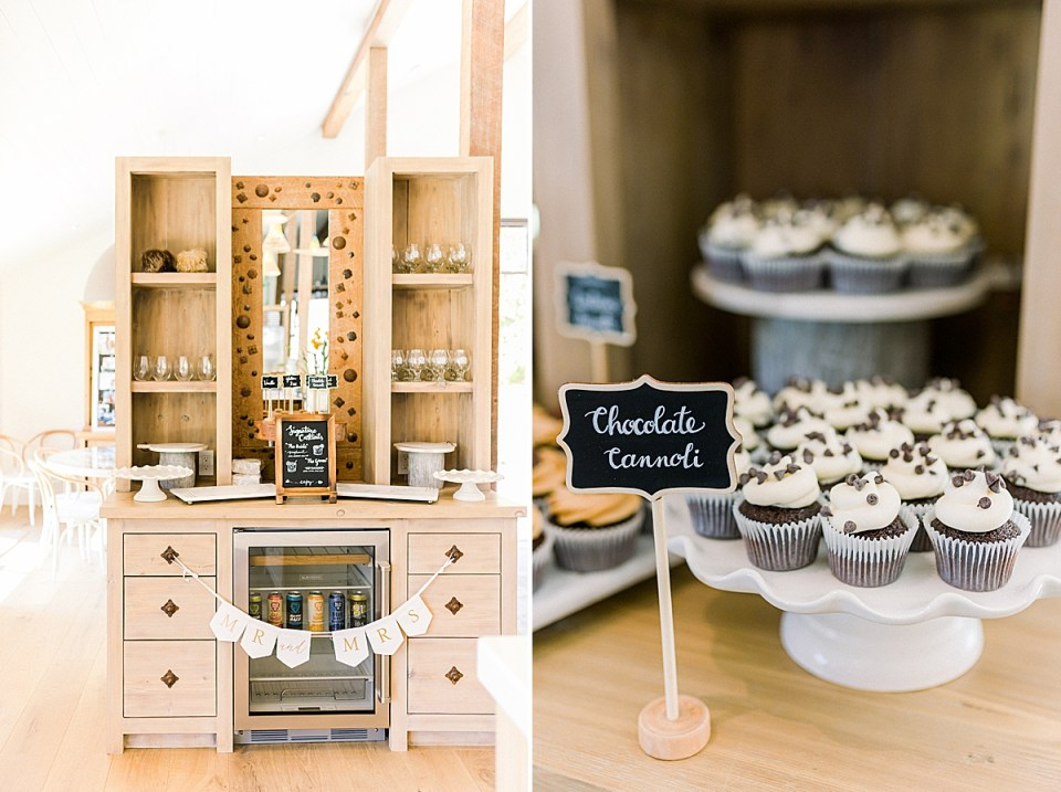 Decorations inside the MarFarm wedding venue. A second image of chocolate cupcakes displayed with a sign in cursive.
