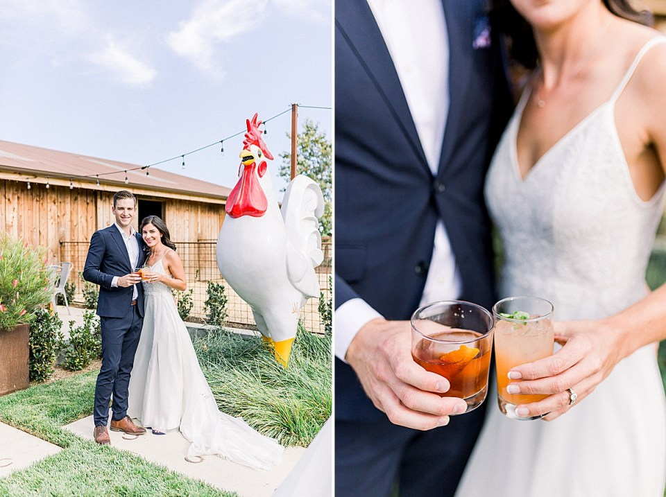 The couple posed with the large white and red chicken statue. A second image of the couple holding their cocktails next to each other at waist level.