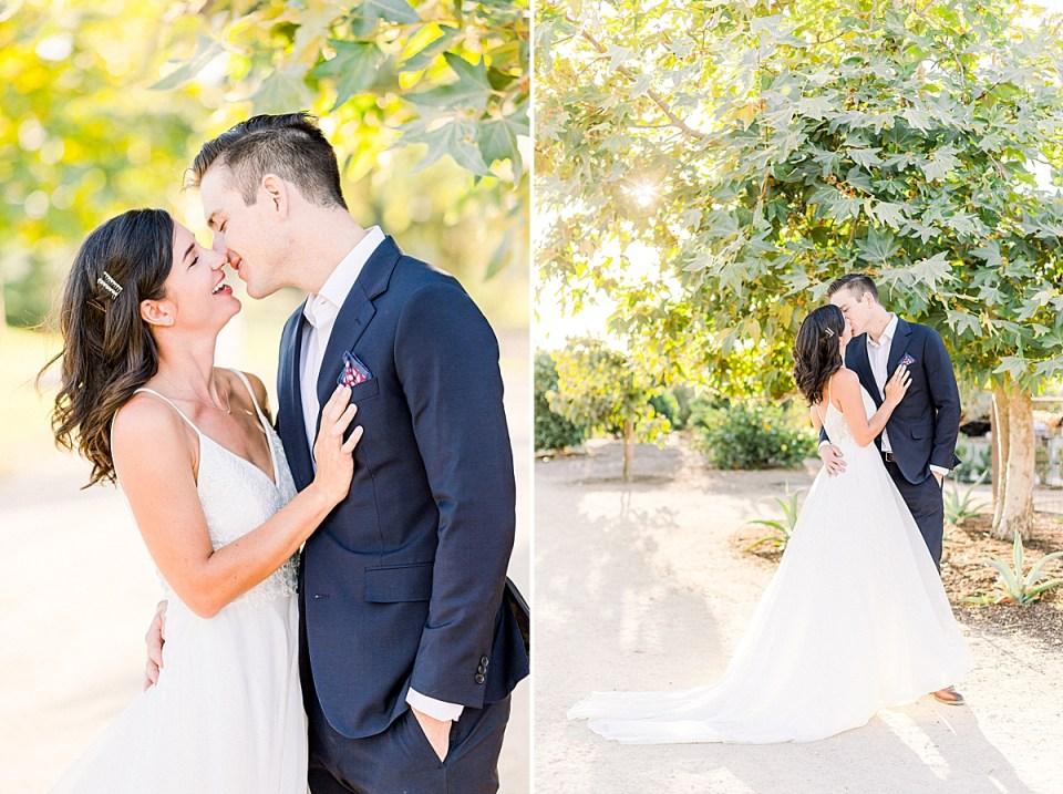 A close up of the couple leaning in towards each other for a kiss. A second image of the same thing, but pulled back.