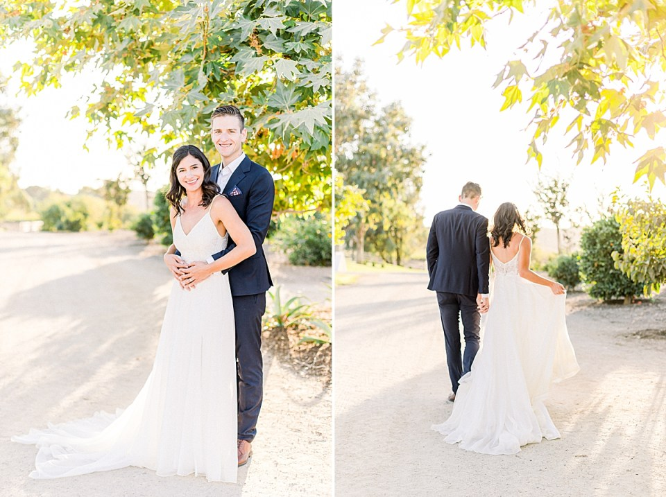 The couple smiling at the camera as Scott hugs his wife from behind. A second image of the couple walking away from the camera towards the sunlight and their silhouettes are glowing.