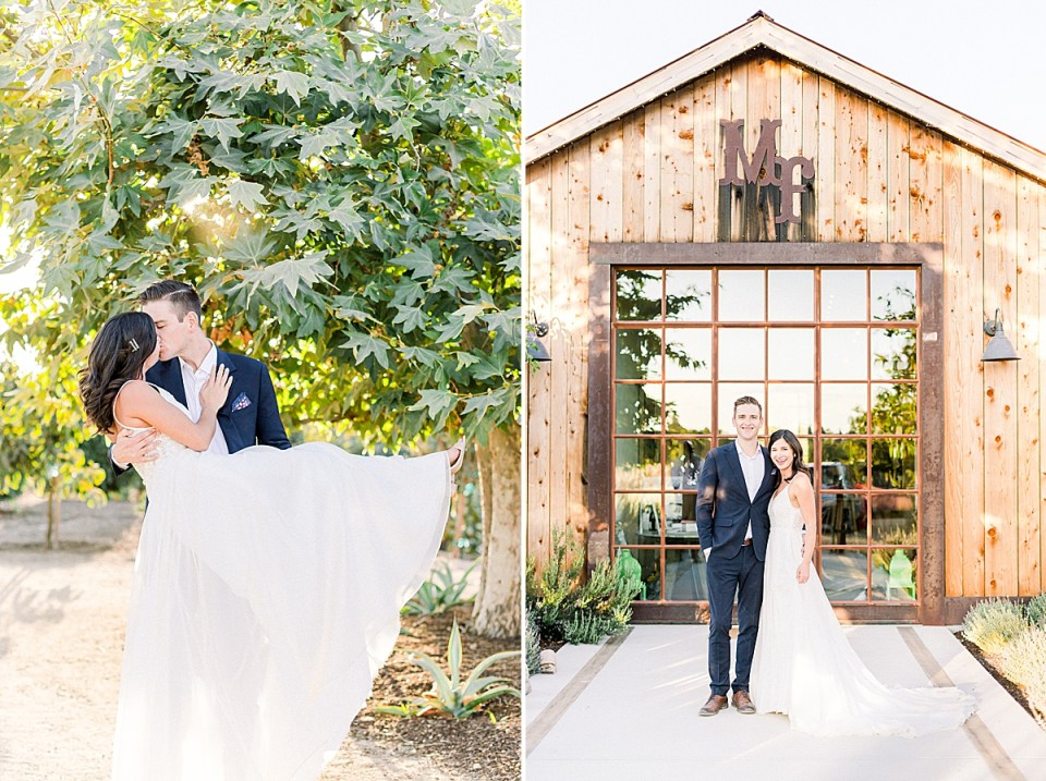 Scott sweeping his bride off her feet and sharing a kiss as sunlight floods in through the leave above and overhead of them. A second image of the couple standing in front of their wedding venue, MarFarm in San Luis Obispo, California.