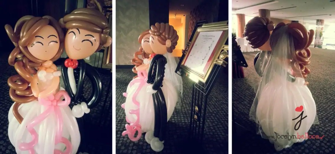 bride and groom balloons