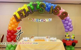 rainbow balloon arch with names