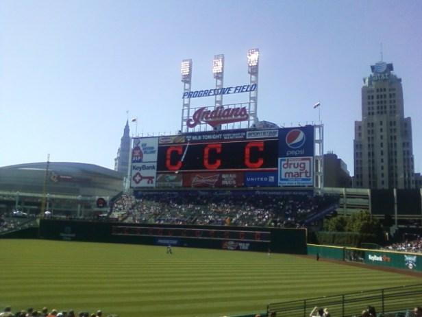 The scoreboard at Progressive Field.