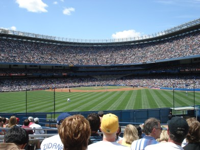The view from our seats at Old Yankee Stadium. They might not be the best seats, but just being in that atmosphere was one of the most amazing experiences of life.
