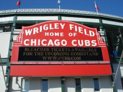The iconic sign outside of Wrigley Field.