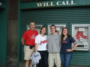 My Dad, brother's girlfriend, brother, and myself all outside of Fenway Park