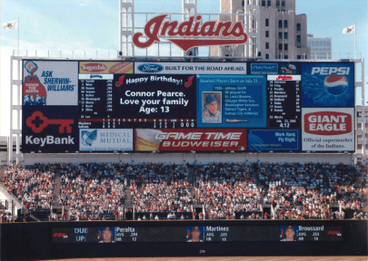 A picture of the scoreboard wishing my brother a happy birthday.