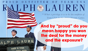 Ralph Lauren dresses US Representatives in China Made Uniforms - Mocks US economy