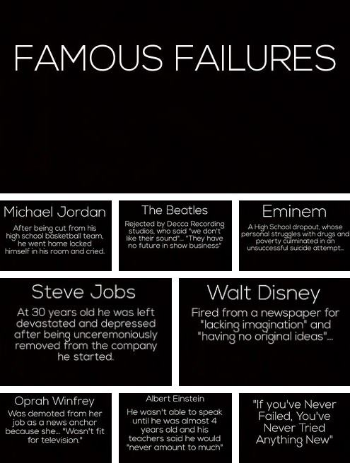 Famous Failures -- Even the Greats Fell Down at Some Point