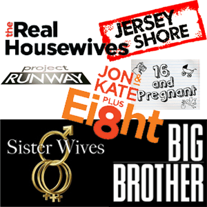 Realty TV logos, Real Housewives, Project Runway, Jersey Shore, Jon and Kate plus Eight, Sister Wives, Big Brother