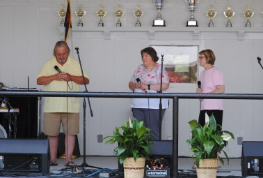 For the 98th consecutive year the Town of Benson hosted the State Singing Convention at the Singing Grove. One of the many groups who took part in the mixed trio competition were The Master's Hands from Clayton. They are James Boger, Sharon Jackson and Jackie Narron.