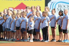 The Micro Elementary Black Widow Choir perform the national anthem at Convocation 2018.