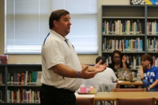 Clayton High School Principal Bennett Jones leads a professional development session on learner profiles during the school's Flex Day on Friday.