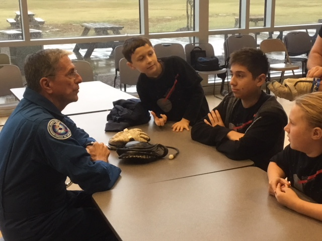 "Members of Neuse Charter's FLL team, Robotic Stormtroopers, talked with veteran astronaut Dr. Don Thomas on Monday, Nov. 12, 2018. The robotics team will use Dr. Thomas' presentation of ""Working and Living in Space"" to help them in their robotics competition in early December."