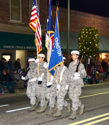The South Johnston High School Color Guard provided the colors for Friday night's Benson Christmas on Main Parade.