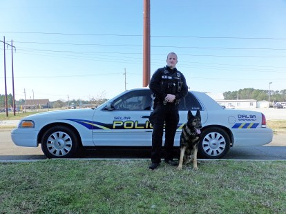 2018 Selma Police Officer of the Year Justin Vause and K-9 Major. JoCoReport.com Photo