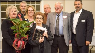 Members of the Four Oaks Chamber Board with Mrs. Jackie Parrish.
