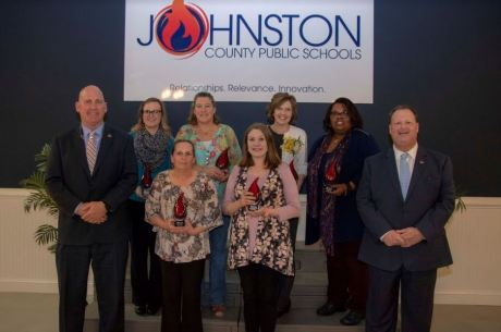 Educators that serve outside of a classroom setting were recognized for the important roles they play in Johnston County Public Schools at a special Employee of the Year reception on March 21. Those who were recognized on the front row are School Nutrition Assistant of the Year Katherine Myers (left) and School Counselor of the Year Abby Stephenson (right). Those who were recognized on the back row (from left) are Media Specialist of the Year Stephanie Haumont, School Nutrition Manager of the Year Linda Houser, Itinerant Teacher/Related Services Provider of the Year Sharon Payne, and School Support Personnel of the Year Vicky Montgomery. Standing with them are Johnston County Board of Education Chairman Mike Wooten (left) and Johnston County Public Schools Superintendent Dr. Ross Renfrow (right).