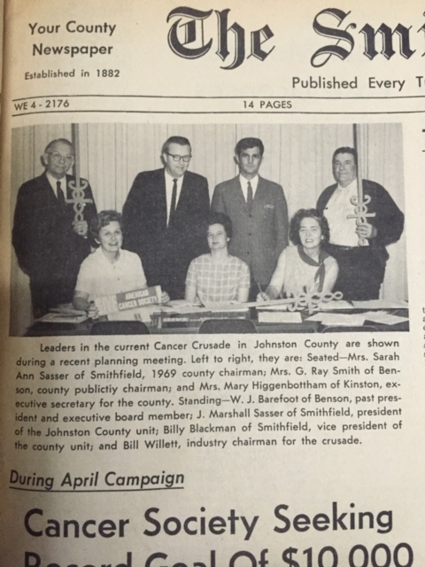 In April 1969, members of the Johnston County Cancer Society launch a Cancer Crusade fundraiser to collect $10,000.