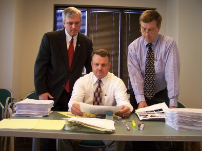 April 18, 2007 - Johnston County Sheriff Steve Bizzell (left) reopens the unsolved murder of Bonnie Neighbors of Benson with Captain Buck Pipkin (center) and Fred Dees. JoCoReport.com Photo