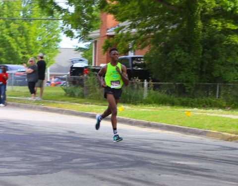 Clayton High graduate Jalen Smith was the first place winner in the 36th Annual Clayton Road Race on Saturday, May 11, 2019. Town of Clayton Photo