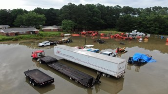 A drone photo of flooding at ARI on South Brightleaf Boulevard following 5 inches of rainfall in July 2019. ARI President Brian Barefoot blames CSX Railroad for the flooding at his business. Town of Smithfield Photo