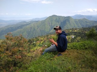 Dylan Smith enjoys the scenery during his summer visit to the Ethiopian highlands.