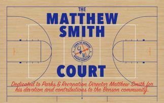 The court dedication sign.