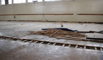 Damage at the Lee Street gym from Hurricane Florence — documented in September 2018.