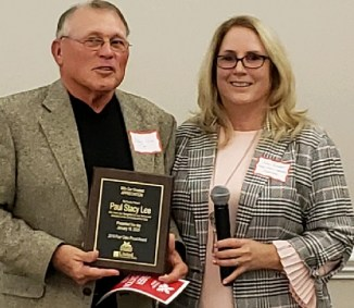 Mr. Paul Stacy Lee, Recipient of the Four Oaks Proud Award, and Joan Pritchett, Executive Director Four Oaks Chamber of Commerce. Contributed photo