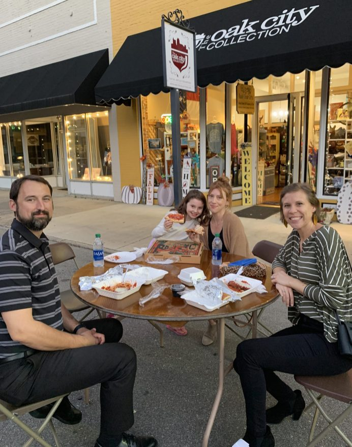 (Left to right) Jordan Coates, Dylann and Kelsey Coates, and Dr. Kathleen Coates enjoy music and dinner during the Oct. 2, 2020 Third StrEATery.