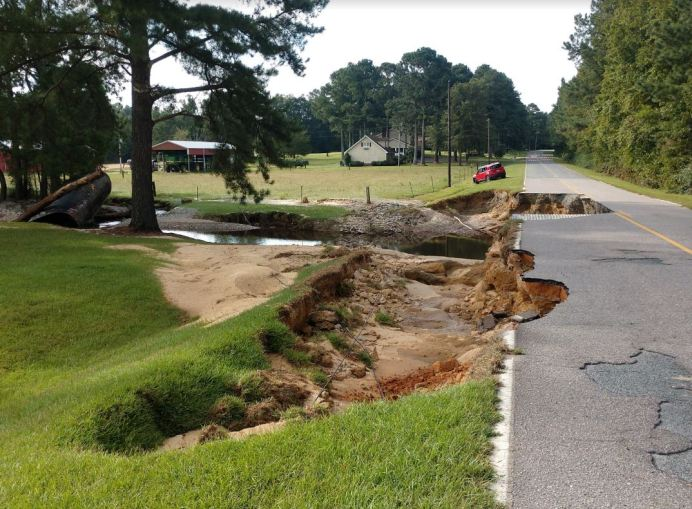 North Johnson Road (pictured) was damaged on Sept. 1 by a flash flood. NCDOT Photo