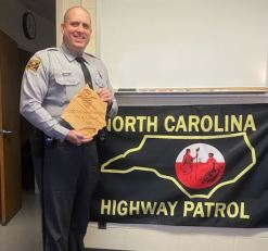 Trooper N.A. Hocutt was named the Trooper of the Year in Johnston County.