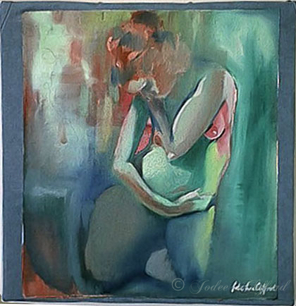 Jodee Clifford, 2004, Oil Painting: Green Sweater, Mixed Media