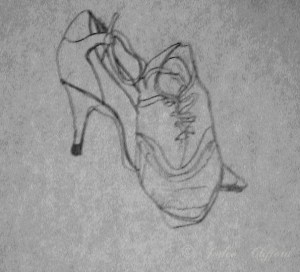 Contour shoes, graphite on paper