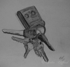 Keys, c. 2002, graphite on paper