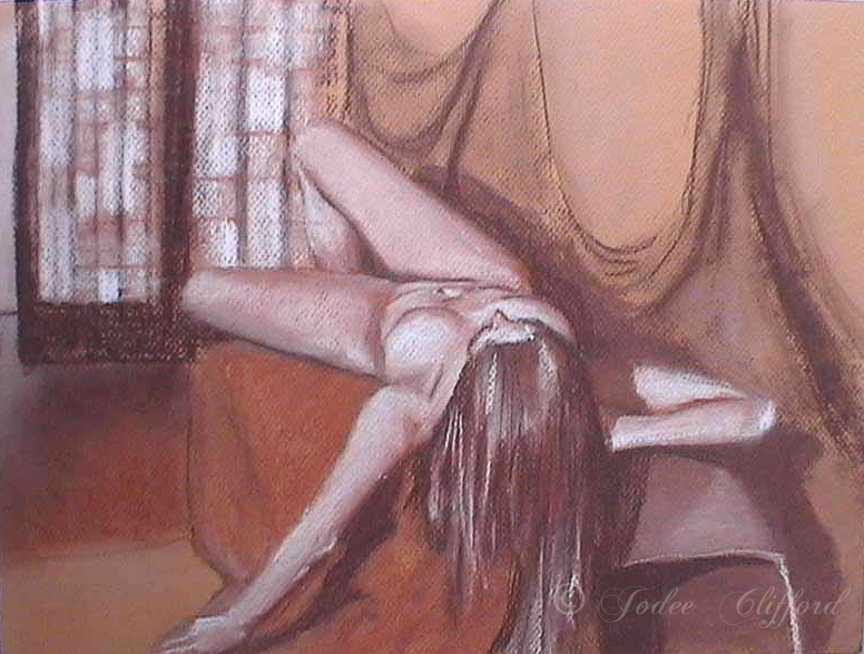 Figure drawing on paper, Morgan Lying, Jodee Clifford