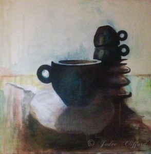 Coffee cups with spoon, Oil on Canvas