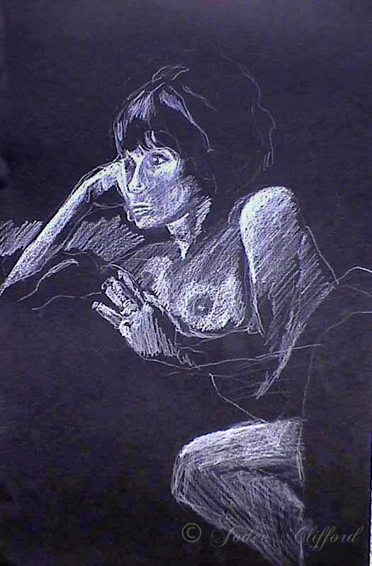 Figure study, Conte on paper