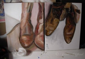 Cowboy boots, oil on canvas