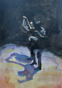 Dancing in the Dark, Watercolor on paper, 2017 (Jodee Clifford)