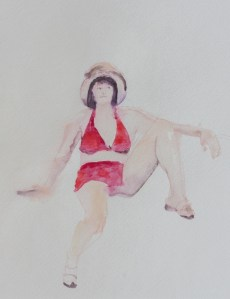Life Drawing at the Art League - Ann, Watercolor on paper