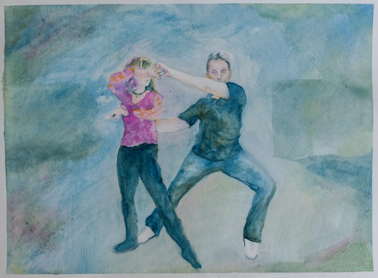 Connection, West Coast Swing, Lead-Follow dancers, Watercolor